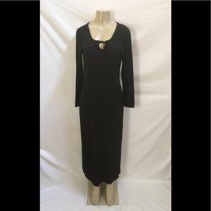 Boston Proper Size M Black Long Sleeve Midi Dress